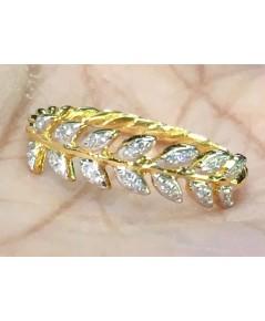 แหวนใบมะกอก เพชรแท้น้ำ 99 ทอง 90