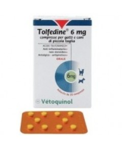 Tolfedine 6 mg ยาบรรเทาปวด ลดไข้ สำหรับลูกสุนัข สุนัขพันธุ์เล็กและแมว (ยกกล่อง 100 เม็ด)