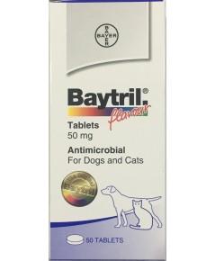 Baytril 50 mg. ไบทริลชนิดเม็ด สำหรับสุนัข-แมว รสเนื้อ  (ยกกล่อง 50 เม็ด)