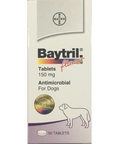Baytril 150 mg. ไบทริลชนิดเม็ด สำหรับสุนัข  รสเนื้อ (ยกกล่อง 50 เม็ด๗