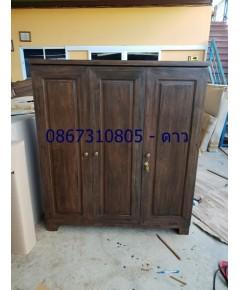 ตู้วางทีวีไม้สักมีลิ้นชักและชั้นเก็บของ