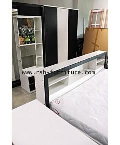 ชุดห้องนอน รหัส 1542 สีขาวตัดดำ
