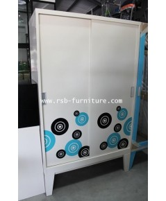 ตู้เสื้อผ้าเหล็ก บานเลื่อน KIOSK รุ่น WDC-05 ขนาด W120XD56XH200CM รหัส 1615