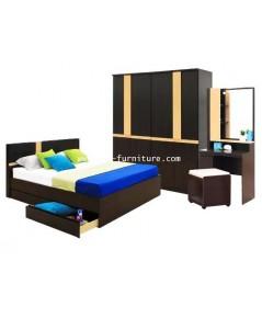 ชุดห้องนอน ร็อคโค ตู้เสื้อผ้า 180 cm  เตียงลิ้นชัก