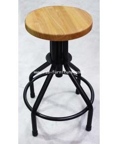 เก้าอี้บาร์ รุ่น 1283 ที่นั่งไม้ธรรมชาติ มีเกลียวหมุนปรับสูง ต่ำ
