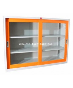 ตู้เหล็กบานเลื่อนกระจก 150 cm รหัส 1900