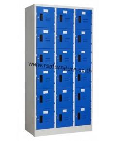 ตู้ล็อกเกอร์ 18 ประตู มีกุญแจและหูคล้องกุญแจ รหัส 2113