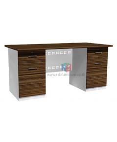 โต๊ะทำงาน 155 cm 2 ลิ้นชัก ซ้าย-ขวา ผิวเมลามีนสีพิเศษ บังหน้าเหล็กฉลุลาย รหัส 2294