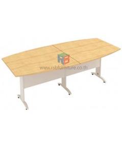 โต๊ะประชุม 300 x 120 cm ทรงเรือใบ 8 - 10 ที่นั่ง ขาเหล็ก 2 ตัวต่อ เมลามีน รหัส 2297