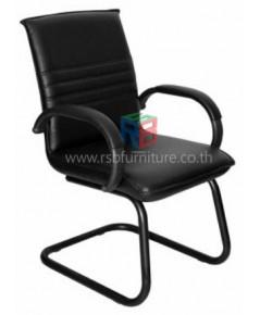 เก้าอี้สำนักงานหุ้มหนังPVC ขาเหล็ก ที่ท้าวแขนทางโค้ง รหัส 2295