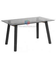 โต๊ะอเนกประสงค์ TOPกระจกสีชาดำ ขาเหล็กดำ รหัส 2307