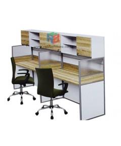 โต๊ะทำงานกลุ่ม 2 ที่นั่ง 124 x 122 cm+ตู้เอกสาร เมลามีนสีพิเศษ รหัส 2335
