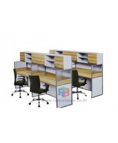โต๊ะทำงานกลุ่ม 4 ที่นั่ง 246 x 214 cm+ตู้เอกสาร เมลามีนสีพิเศษ รหัส 2350