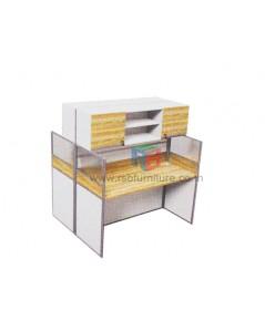 โต๊ะทำงานกลุ่ม 2 ที่นั่ง 124 x 122 cm+ตู้เอกสาร เมลามีนสีพิเศษ รหัส 2343