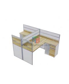 โต๊ะทำงานกลุ่ม 2 ที่นั่ง 154 x 242 cm+ตู้เอกสาร เมลามีนสีพิเศษ รหัส 2340