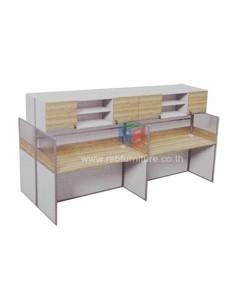 โต๊ะทำงานกลุ่ม 4 ที่นั่ง 306 x 122 cm+ตู้เอกสาร เมลามีนสีพิเศษ รหัส 2352