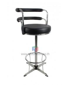 เก้าอี้บาร์เหล็กพ่นดำทรงสูงขาเเฉก มีที่วางเท้า รหัส 1924