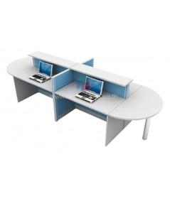 โต๊ะทำงานกลุ่ม 4ที่นั่ง W370XD125CXH108CM ตัวต่อโค้งเพิ่มพื้นที่การใช้งานที่หัวและท้ายชุด รหัส 2658