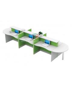 โต๊ะทำงานกลุ่ม 6ที่นั่ง W496XD125CXH108CM ตัวต่อโค้งเพิ่มพื้นที่การใช้งานที่หัวและท้ายชุด รหัส 2659