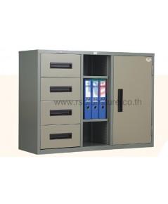 ตู้เอกสารเหล็ก 1 บานประตู และ 4 ลิ้นชักพร้อมชั้นวางโล่งปรับระดับได้ รหัส 2804