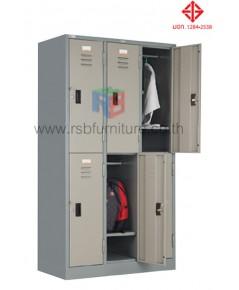 ตู้ล็อกเกอร์ เสื้อผ้า 6 ประตู รุ่น LK-006 (มี มอก.1284-2538) รหัส 2814 ยี่ห้อ TAIYO