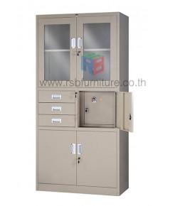 ตู้เอกสารเหล็ก บานเปิดกระจก บานในช่องกลาง มีช่องล็อคพิเศษ รหัส 2822