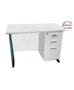 โต๊ะทำงาน ขาเหล็กปั๊มเงา ลิ้นชักถึงพื้่น ขนาด W120/150/180 CM รหัส 2890