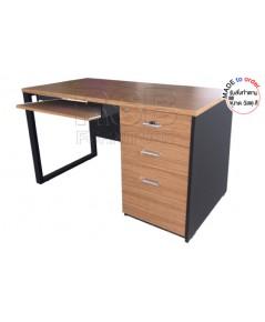 โต๊ะคอมพิวเตอร์ ขาเหล็กสลับกับขาไม้ ลิ้นชักเต็มถึงพื้น ขนาด W120/150/180 CM รหัส 2894