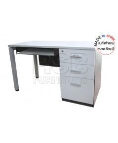 โต๊ะคอมพิวเตอร์ ขาเหล็ก+ขาไม้ ลิ้นชักวางเต็มถึงพื้น ขนาด W120/150/180 CM รหัส 2888