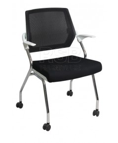 เก้าอี้ทำงาน 4 ขาพร้อมล้อ ที่นั่งพับได้ พนักพิงตาข่าย รหัส 2875
