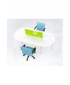โต๊ะทำงานกลุ่ม WORKSTATION 2 ที่นั่ง ทรงรี พร้อมฉาก ขนาด 240 x 120 cm รหัส 2991