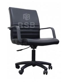เก้าอี้สำนักงาน พนักพิงหนัง แขนไฟเบอร์ รหัส 3057
