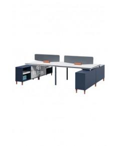 โต๊ะทำงานกลุ่ม 4 ที่นั่ง WORKSTATION ขนาด W 240 cm x D 240 cm งานดีไซน์เอกลัษณ์เฉพาะตัว รหัส 3116