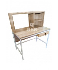 โต๊ะทำงานพร้อมชั้นวาง ขาเหล็กกล่อง 1 นิ้ว ขนาด 60 x 100 สูง 120 cm. รหัส 3142