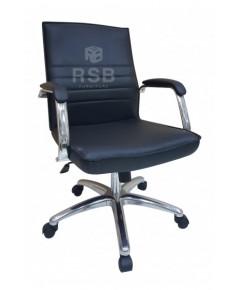 เก้าอี้ออฟฟิศ พนักพิงหนัง แขนเหล็กหนา หุ้มด้วยหนังอีกชั้น รหัส 3150