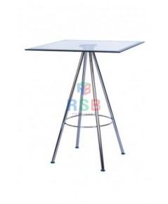 โต๊ะกระจก ทรงเหลี่ยม ขาเหล็ก 4 แฉก รหัส 3163