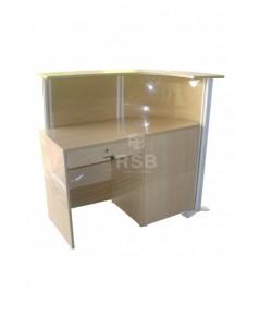 โต๊ะทำงาน พร้อมชุดฉากเข้ามุม เต็มถึงพื้น ด้านบนมีแผ่นไม้ ขนาด 140 x 60 cm รหัส 3244
