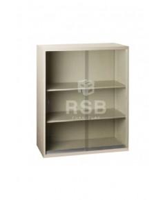 ตู้เอกสารเหล็ก ยี่ห้อ LUCKY แบบบานเลื่อนกระจก ขนาด 90 x 45 สูง 110 cm รหัส 3322