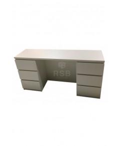 โต๊ะทำงาน ขาไม้ ลิ้นชักซ้าย - ขวา เต็มถึงพื้น ขนาด 150 x 60 สูง 75 cm รหัส 3337
