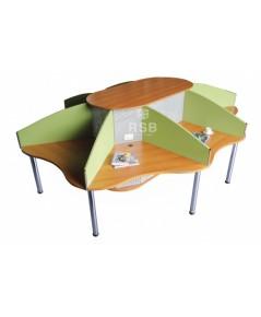 โต๊ะทำงานกลุ่ม CALL CENTER 8 ที่นั่ง พร้อมฉากกั้นบนโต๊ะ ขนาด 265 X 331 CM รหัส 3698