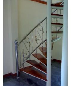 บันไดวนสแตนเลส Stainless Spiral Staircase Railing  หมู่บ้านปรีชา ถ.สุวินทวงศ์(Preecha Villa, BKK