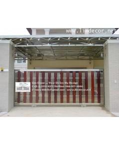 ประตูไม้ ประตูไม้ฝาเชอร่า สแตนเลส Naturally Hardwood Shera Wood with Stainless Steel Gat  LD-A174