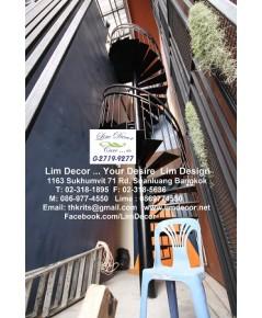 LD-B921 บันไดวนหนีไฟเหล็กตึก 5 ชั้น Metal Fire Escape Staircase Railing ณ นิคม บางนา