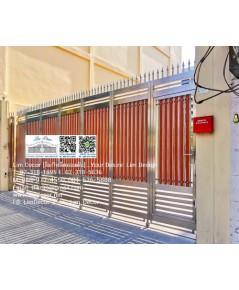 LD-A1031 ประตูรั้วรีโมทสเตนเลสไม้ระแนง+ประตูเล็กในตัว Stainless Steel Gate AutomaticRemoteControl