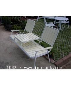 รหัสสั่งซื้อ 1042 :  เก้าอี้แฝดขาเหล็ก สีครีม