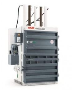 เครื่องอัดเศษวัสดุแนวตั้งแบบประตูบานพับ พร้อมที่ล็อคประตูแบบมือหมุน HSM รุ่น v-press 860 eco