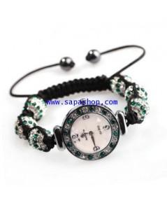 จำหน่าย นาฬิกาแบบสร้อยข้อมือ Crystal Ball เพชรสลับสีเขียวเข้ม สำหรับ Women ราคาประหยัด (พรีออเดอร์))
