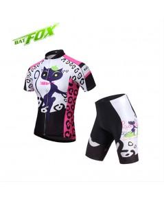 จำหน่ายBATFOX ผู้หญิงขี่จักรยานย์แขนสั้นสีชมพูอัลตราไวโอเลตหลักฐานระบายอากาศจักรยานเสื้อผ้าโพลีเอสเต
