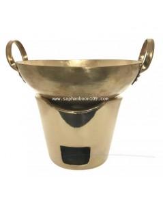 กระทะทองเหลืองแท้พร้อมเตา ขายเป็นชุด ( ขนาดกระทะ 20 ซ.ม. )