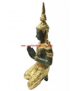 รูปปั้นงานทองเหลือง เทพพนมรุ่นเล็ก  สีเขียวทอง สไตล์วินเทจ